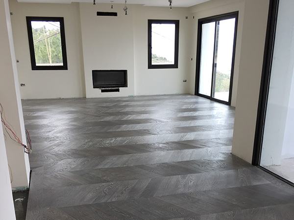 Grey oak chevron wood floor