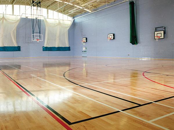 Beech sprung floor with court line marking