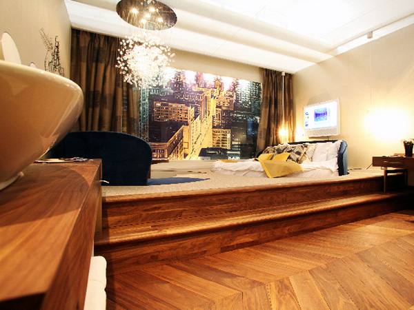 Walnut chevron hardwood flooring