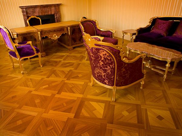 Iroko marquetry floor